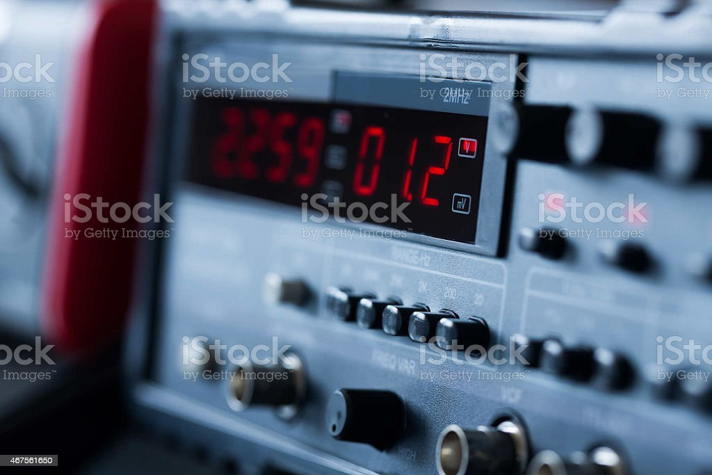A measuring device with a digital display stock photo