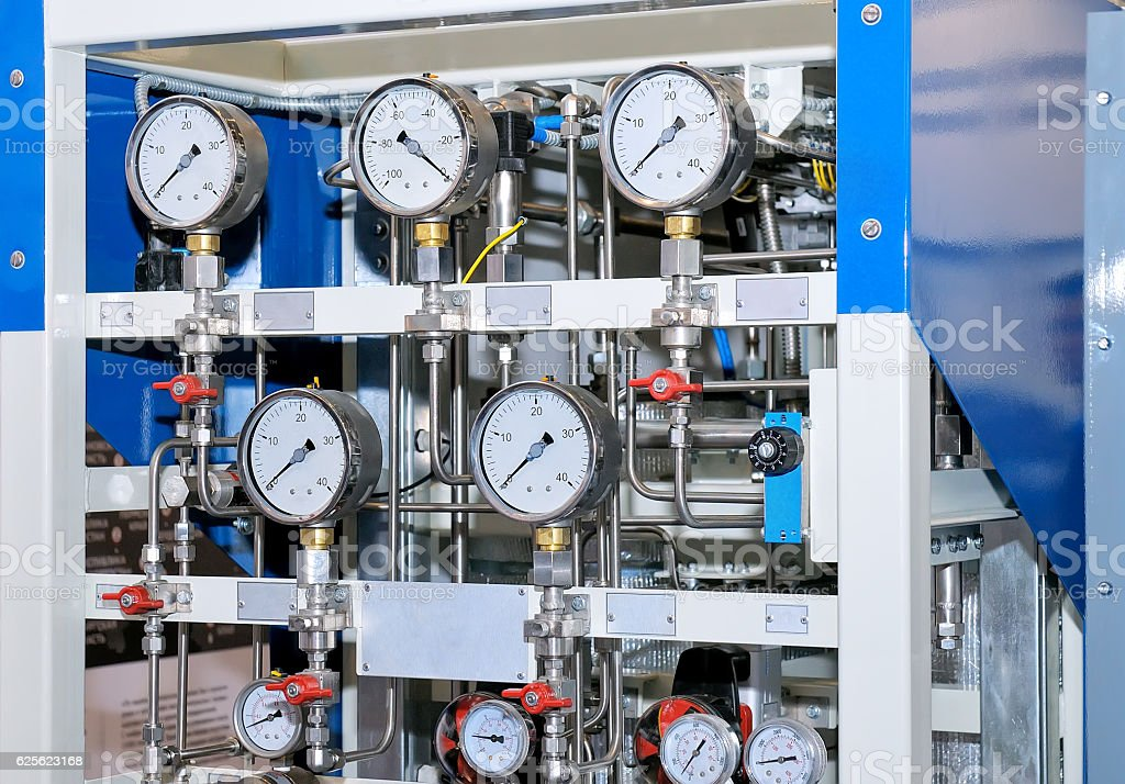 Measuring device with manometers and connecting pipes stock photo