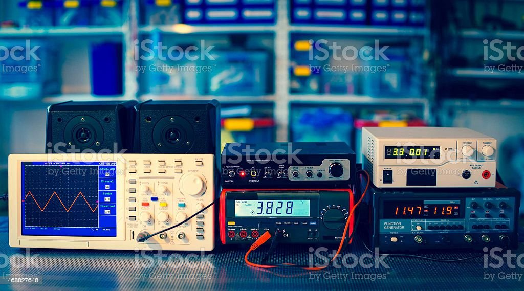 measuring devices in the physical laboratory stock photo