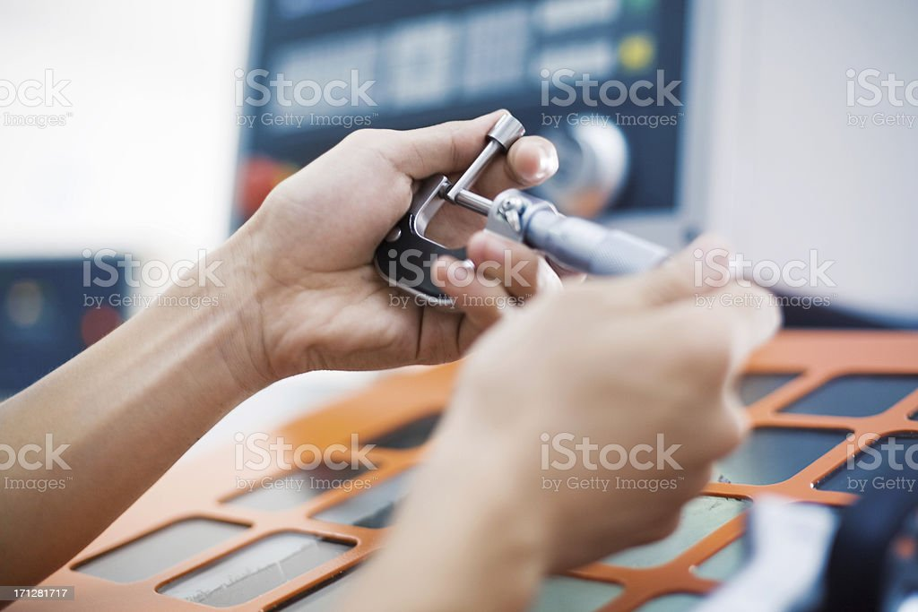 Measuring Equipment Digital Micrometer stock photo