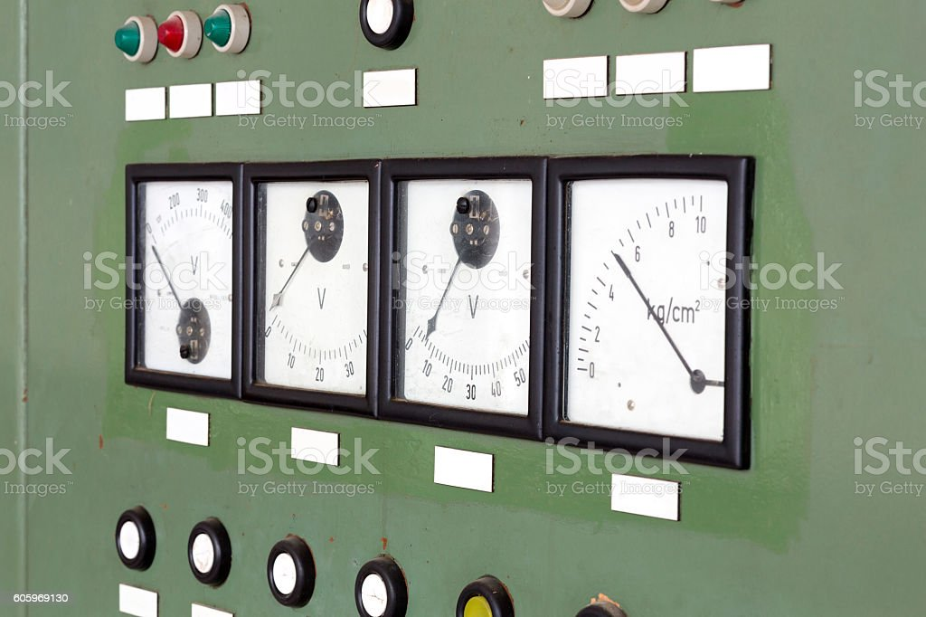 Measuring equipment in an old control cabinet stock photo