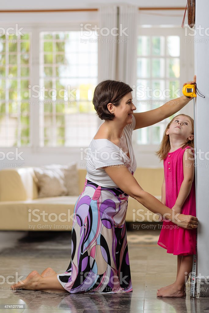 Measuring height stock photo