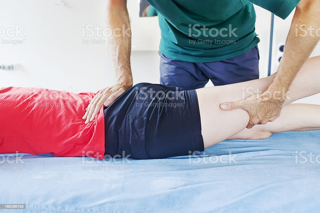 Measuring hip extension stock photo
