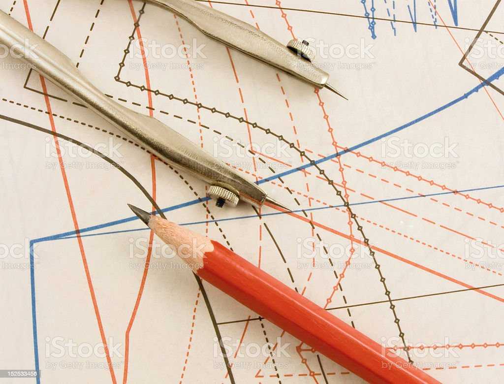 Measuring in drawing  project-sketch royalty-free stock photo
