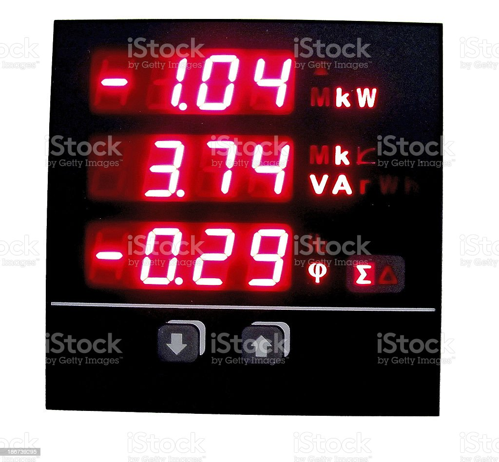 measuring instrument with red lcd display stock photo