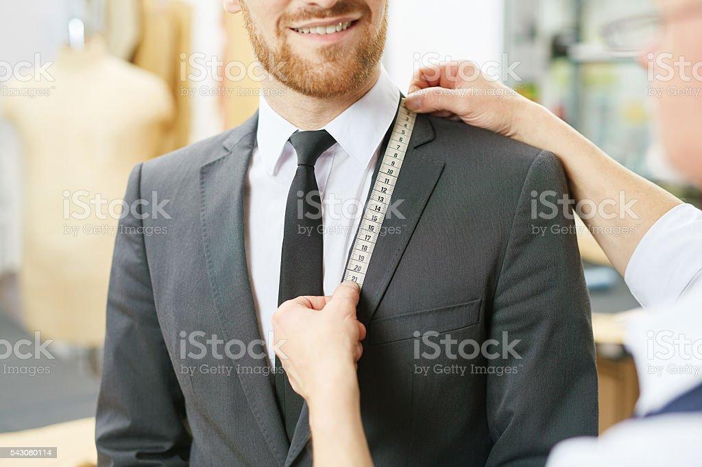 Measuring jacket collar stock photo
