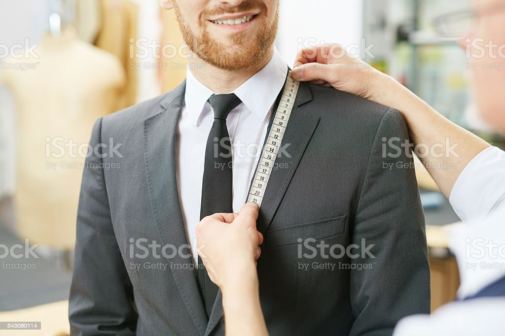 Measuring jacket collar stock photo