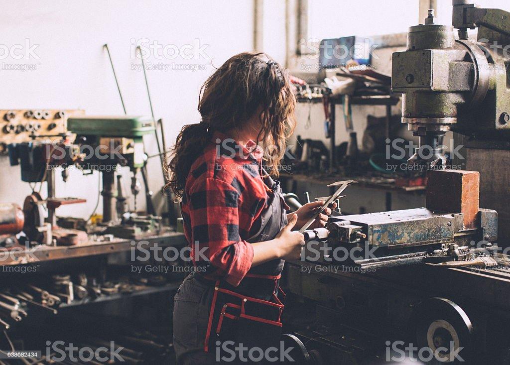 Measuring metal parts... stock photo