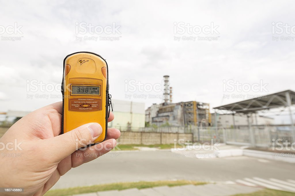 Measuring Radiation in Reactor 4 of Chernobyl Nuclear PowerPlant, Ukraine stock photo