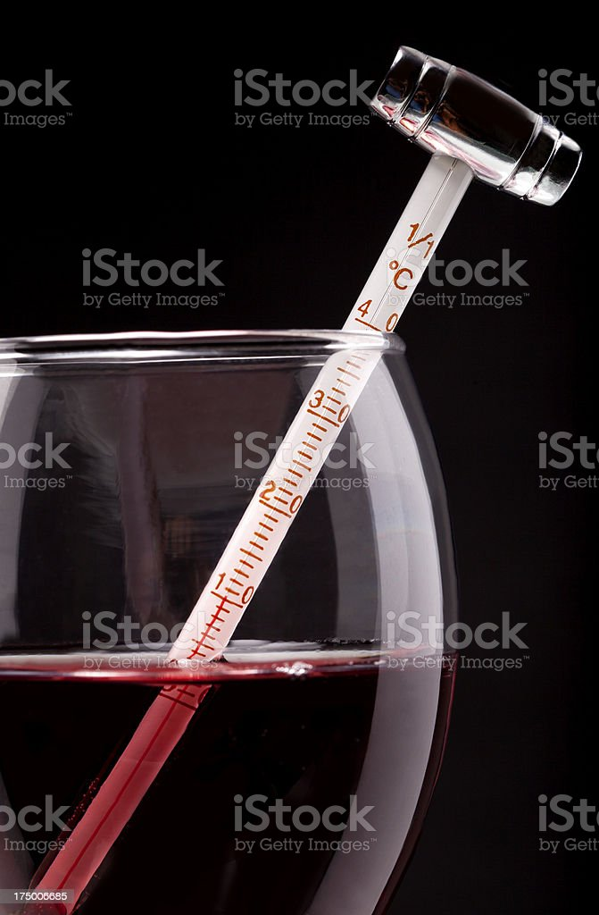 Measuring Red Wine Temperature with a Thermometer royalty-free stock photo