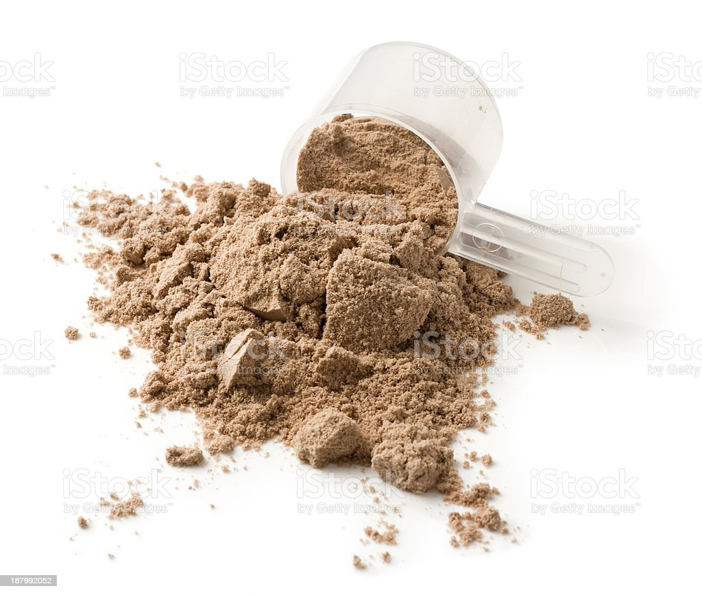 Measuring scoop of protein powder on a white background stock photo