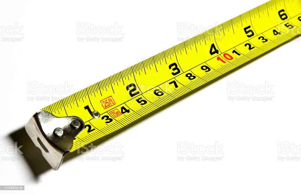 Measuring Tape Detail Isolated on White Background royalty-free stock photo