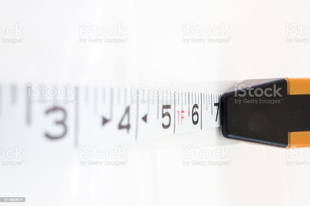 measuring tape for forensic in crime scene isolated stock photo
