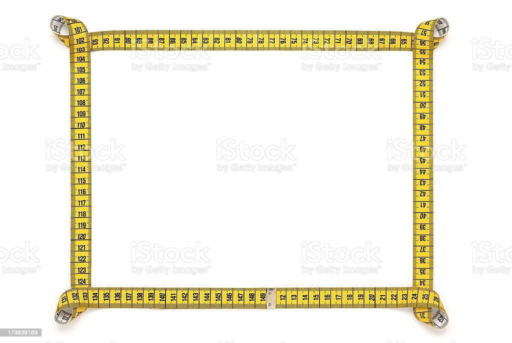 Measuring tape frame isolated on white royalty-free stock photo