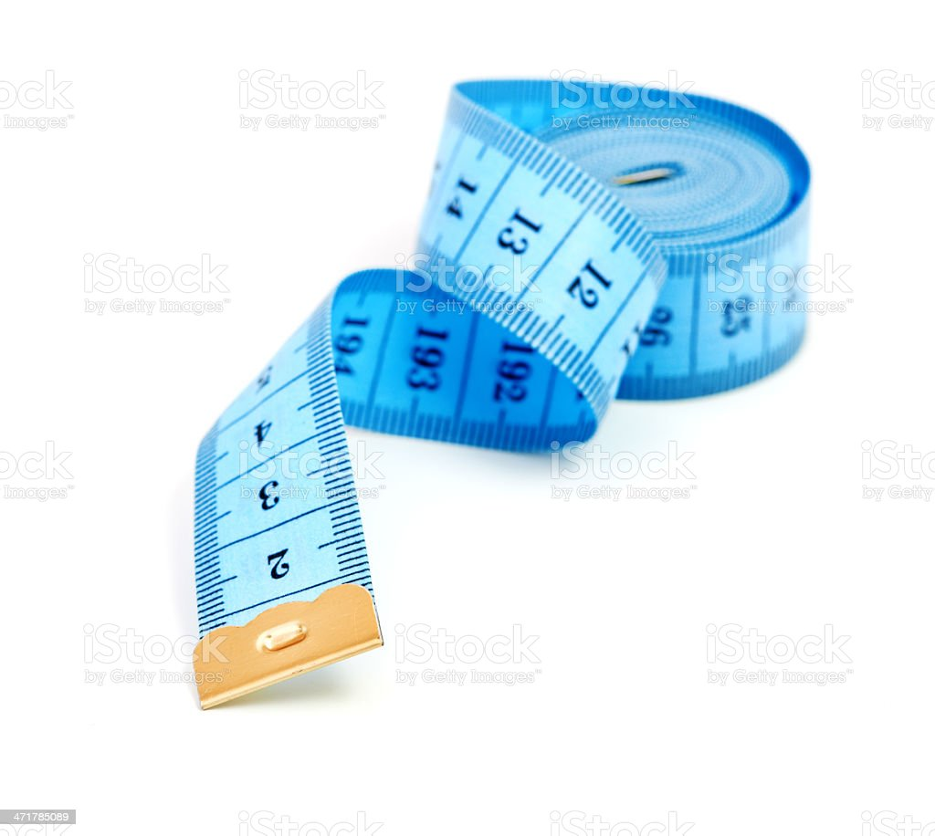 Measuring tape of the tailor isolated on white background royalty-free stock photo