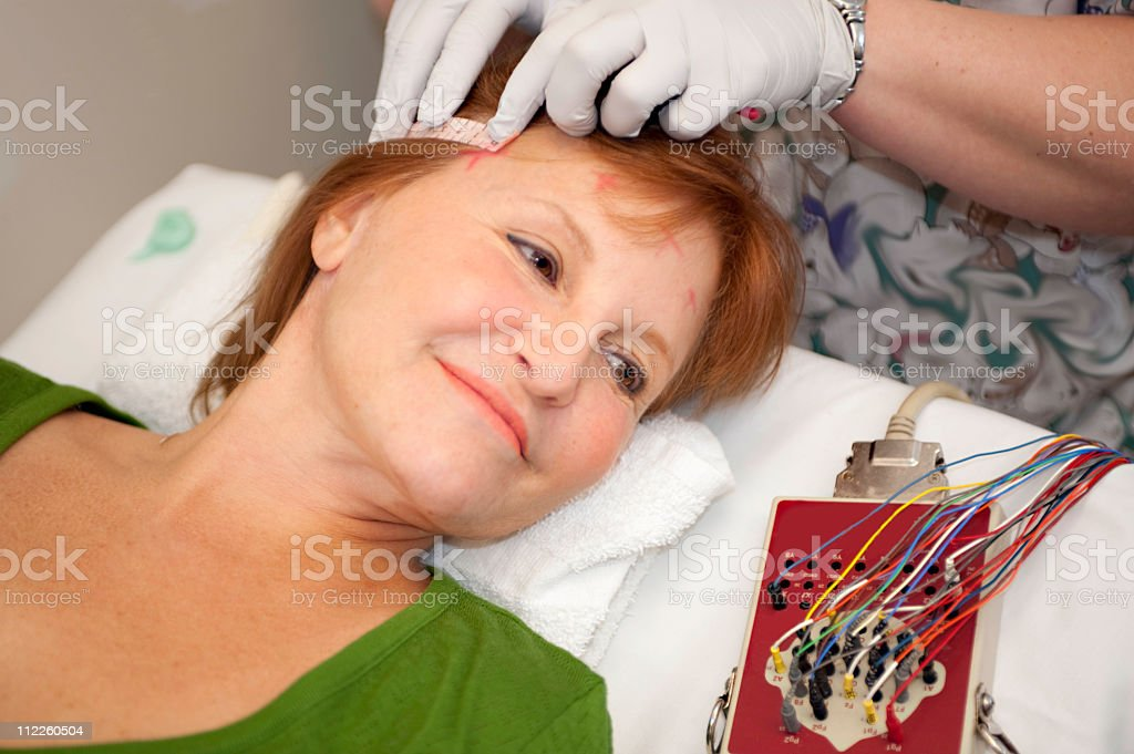 EEG measuring tape stock photo