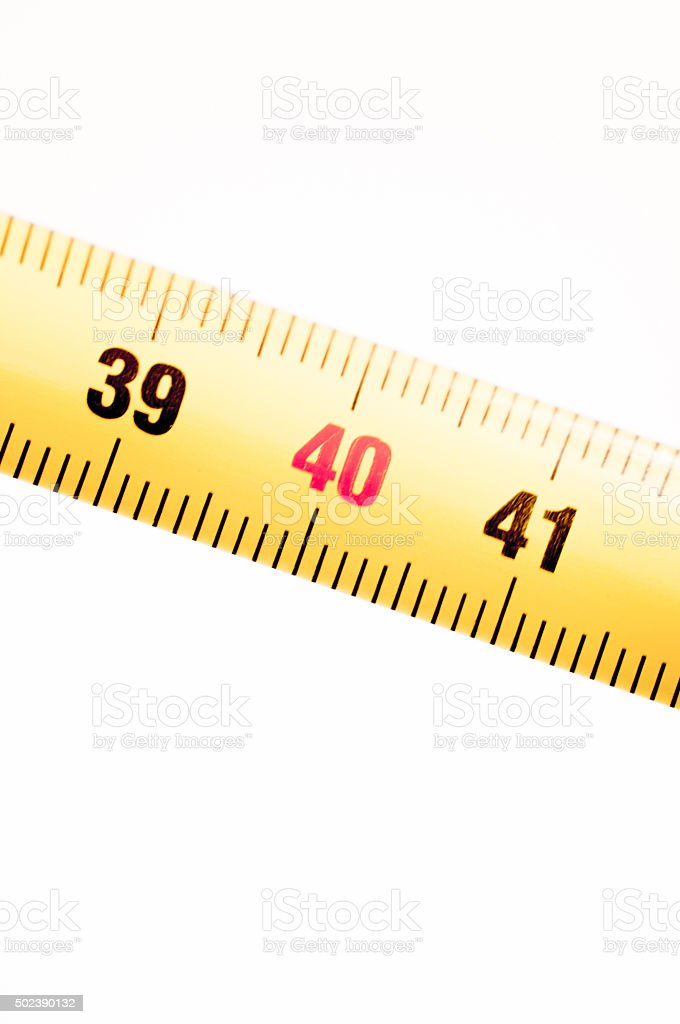 Measuring tape ruler cm numbers 39 40 stock photo