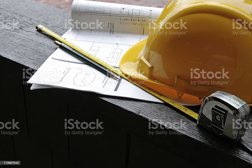 Measuring Up The Renovation For Home Theater And Lower Level royalty-free stock photo