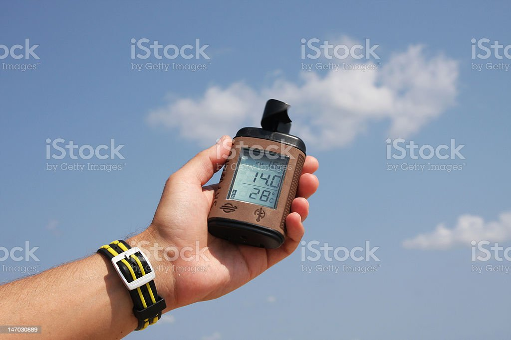 Measuring wind speed. royalty-free stock photo