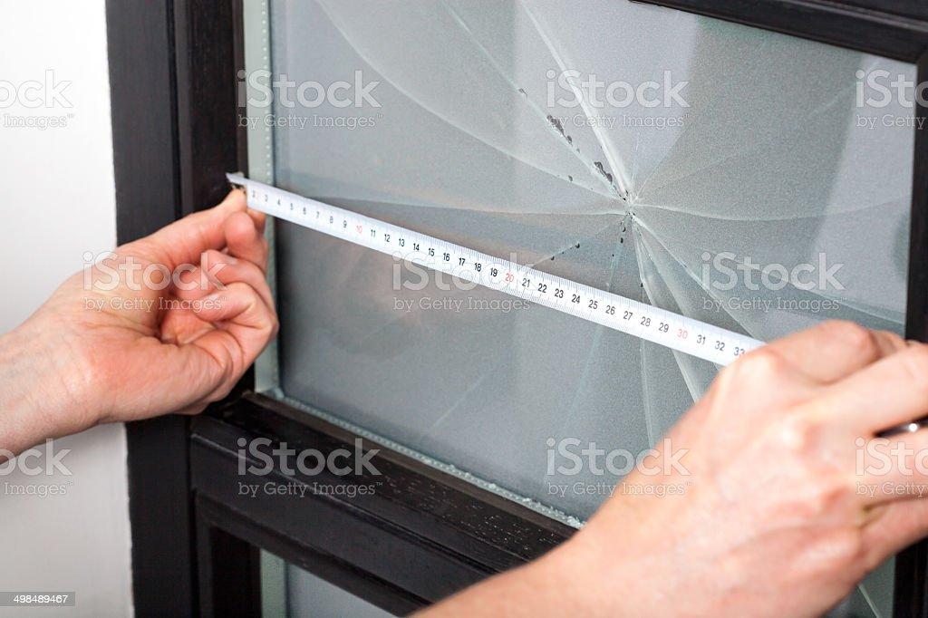 Measuring window dimension stock photo