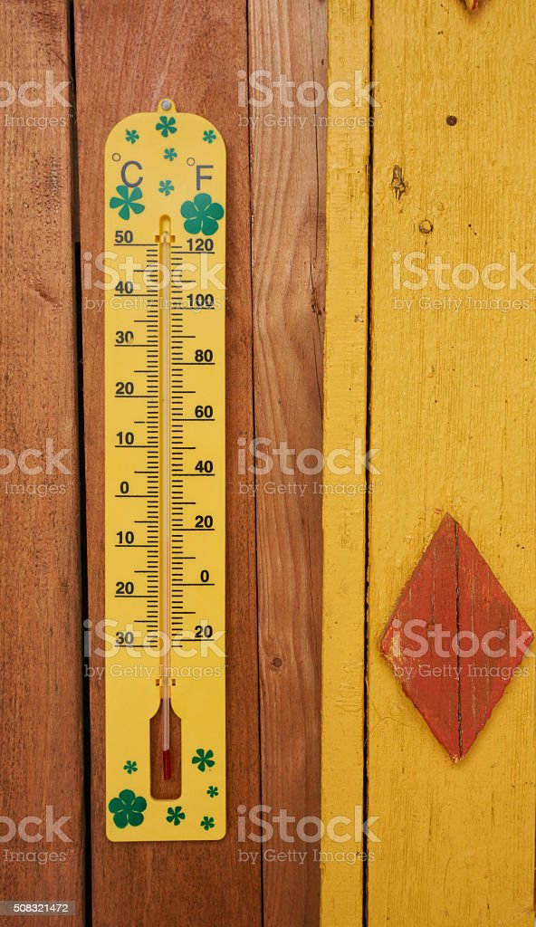 Measuring winter temperature stock photo