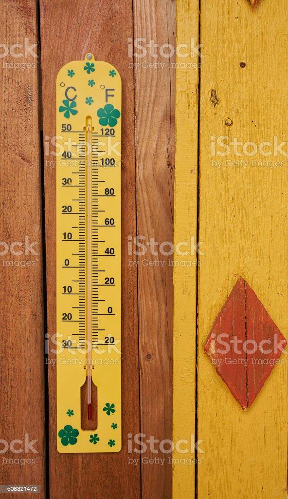 Measuring winter temperature stock photo