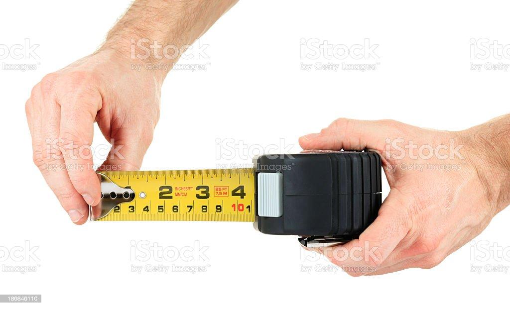 Measuringtape in Hand royalty-free stock photo