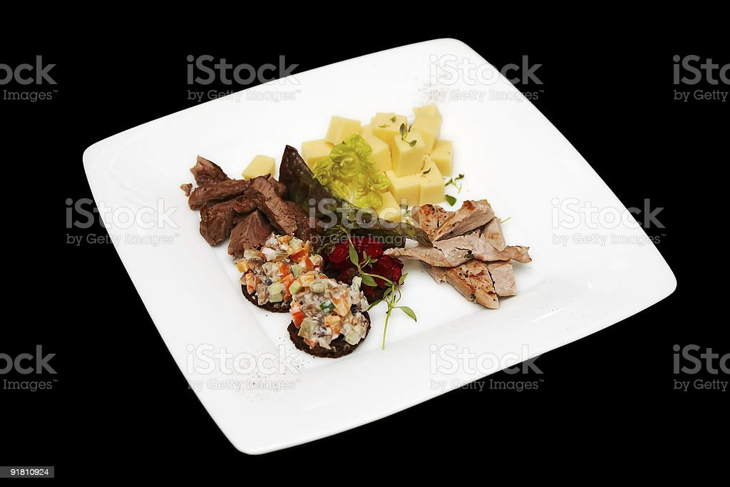 Meat and cheese appetizer royalty-free stock photo