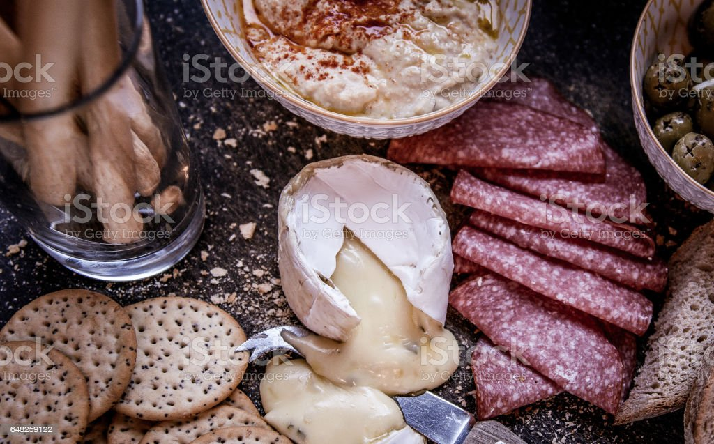 meat and cheese platter stock photo