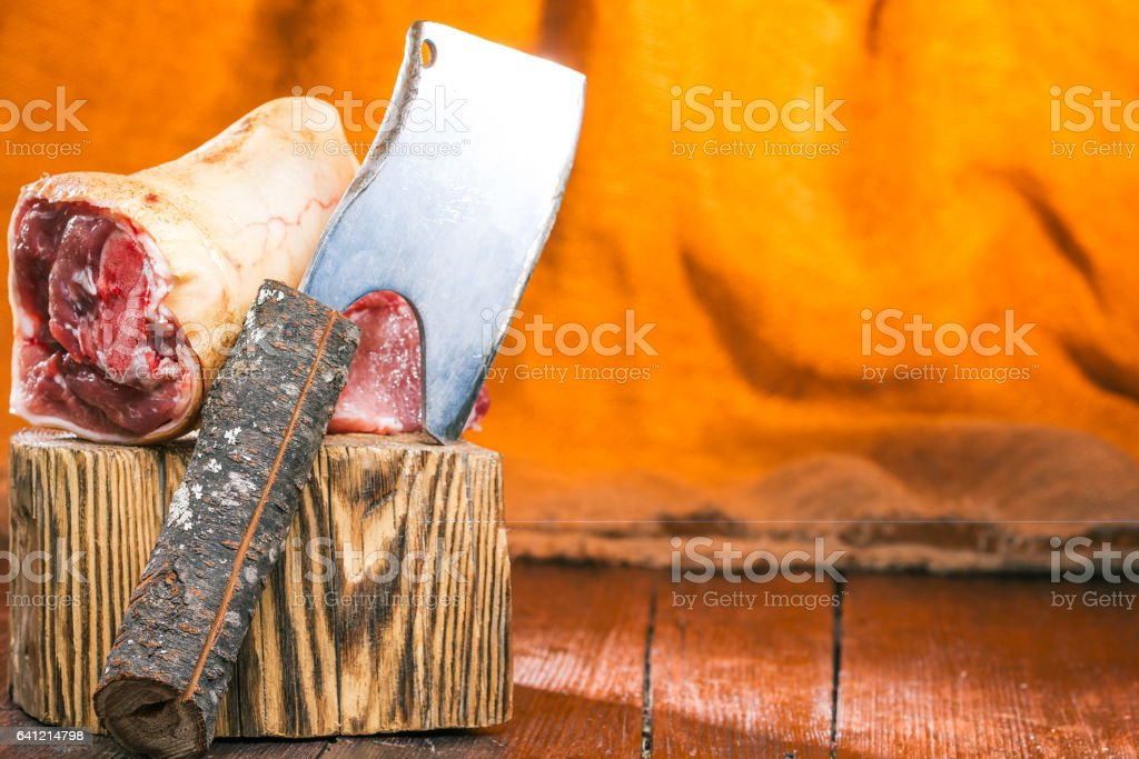 Meat and chopper stock photo