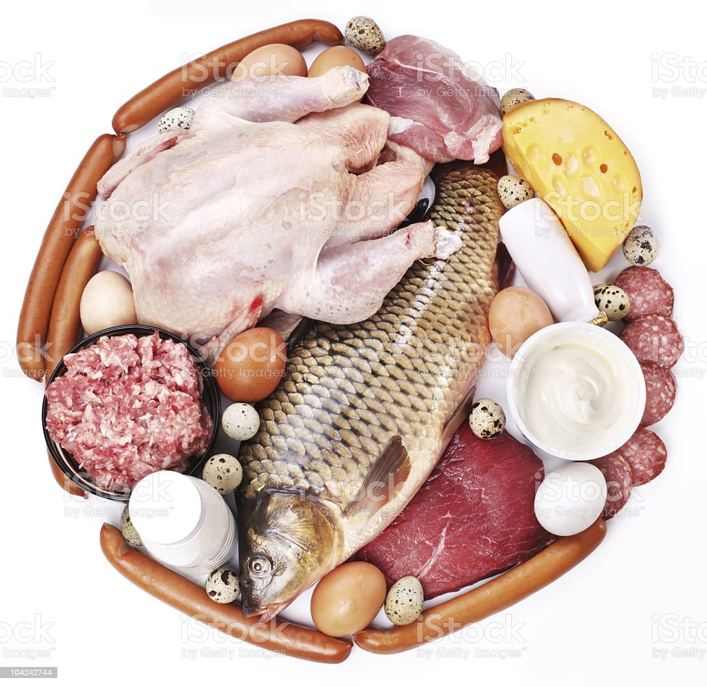 Meat and dairy products in the form of a circle royalty-free stock photo