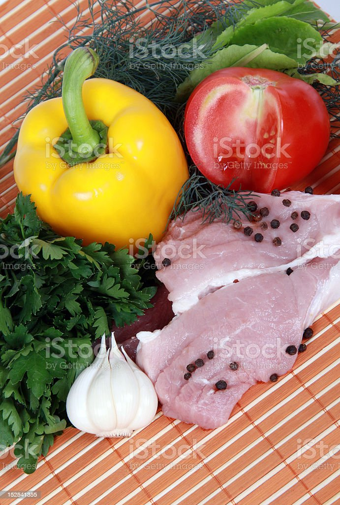 Meat and fresh vegetables royalty-free stock photo
