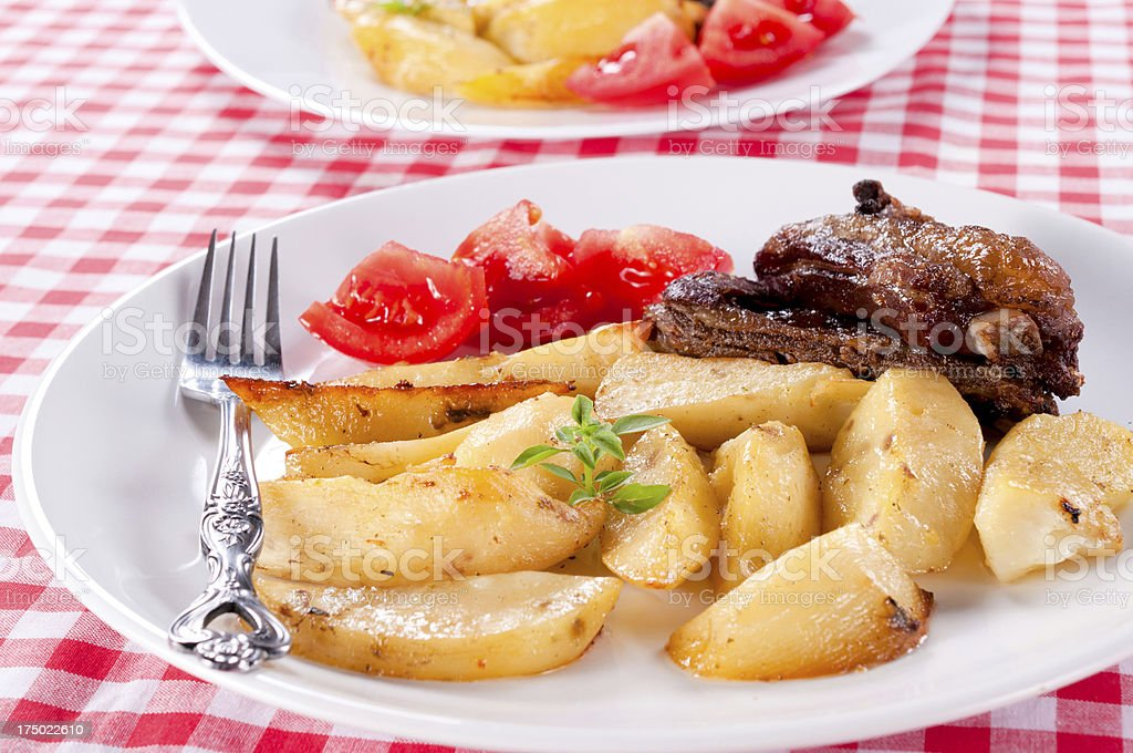 Meat and potato royalty-free stock photo