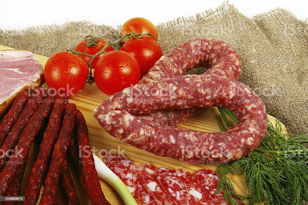 Meat and sausage products royalty-free stock photo