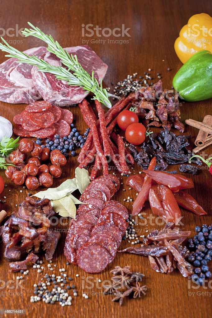 meat and sausages royalty-free stock photo