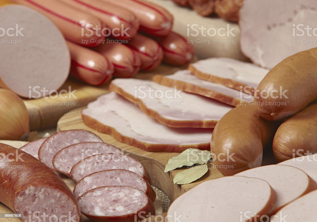 meat and sausages stock photo