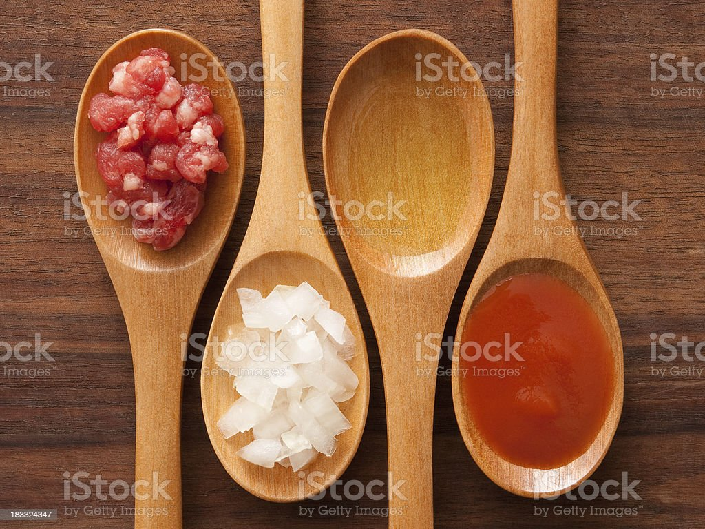 Meat and tomato sauce ingredients royalty-free stock photo