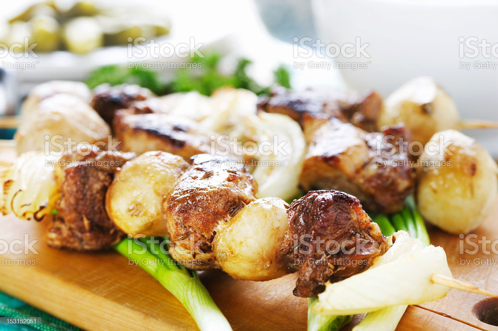 meat and vegetable kebab royalty-free stock photo