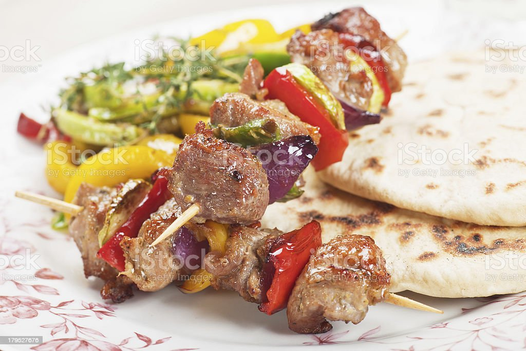 Meat and vegetable on skewer royalty-free stock photo