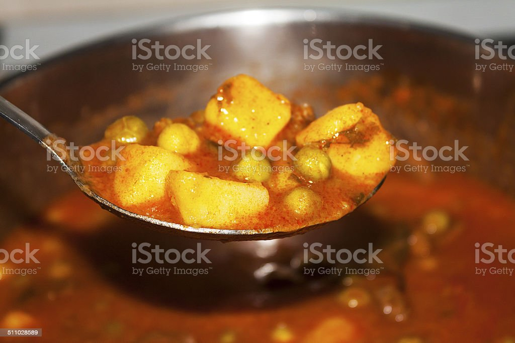 Meat and vegetable stew stock photo