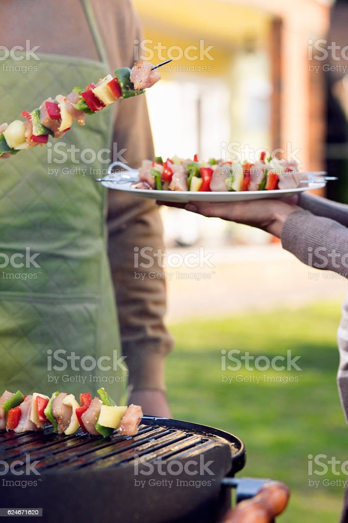 Meat and vegetables on a grill stock photo