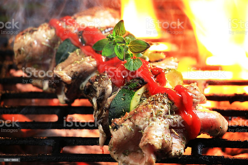 Meat and vegetables on grill royalty-free stock photo