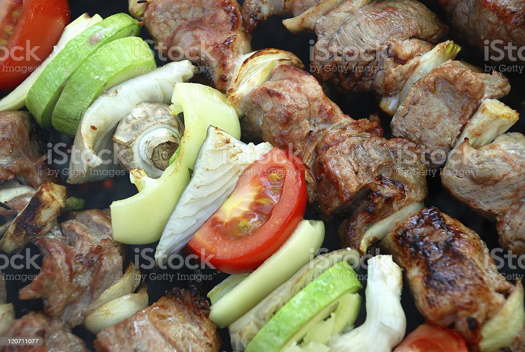 BBQ meat and vegetables royalty-free stock photo