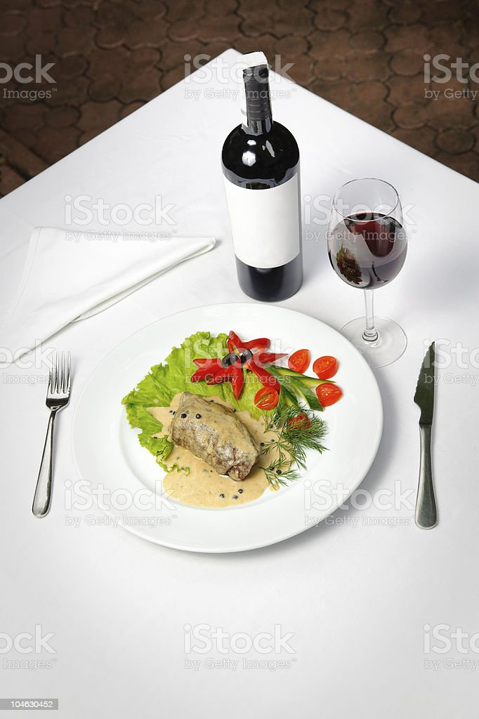 meat and wine royalty-free stock photo