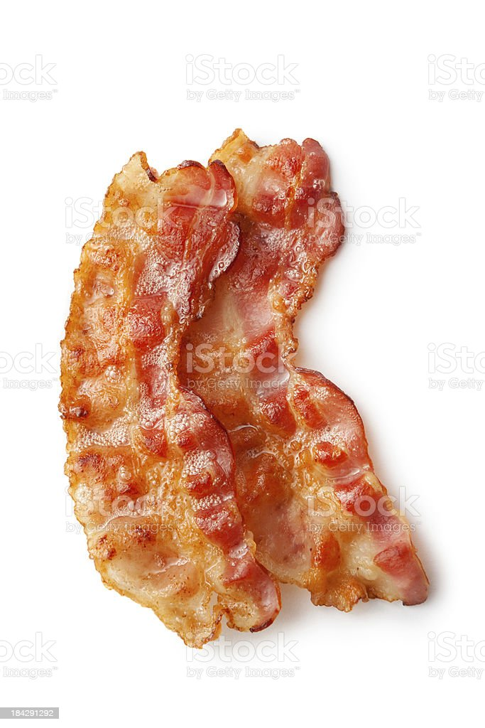 Meat: Bacon Isolated on White Background stock photo