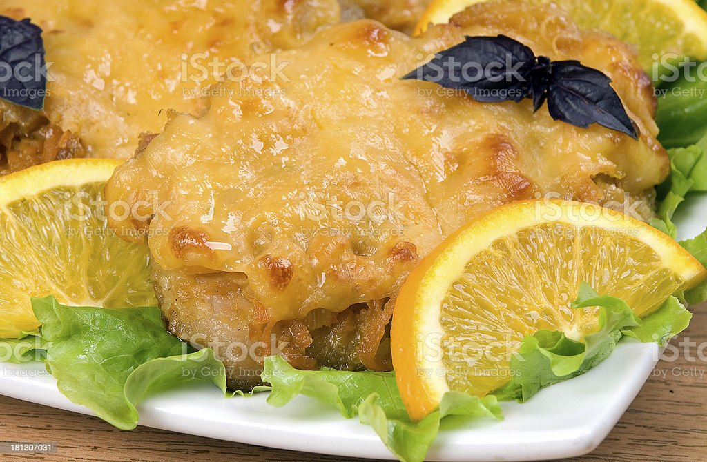 Meat baked with cheese. royalty-free stock photo