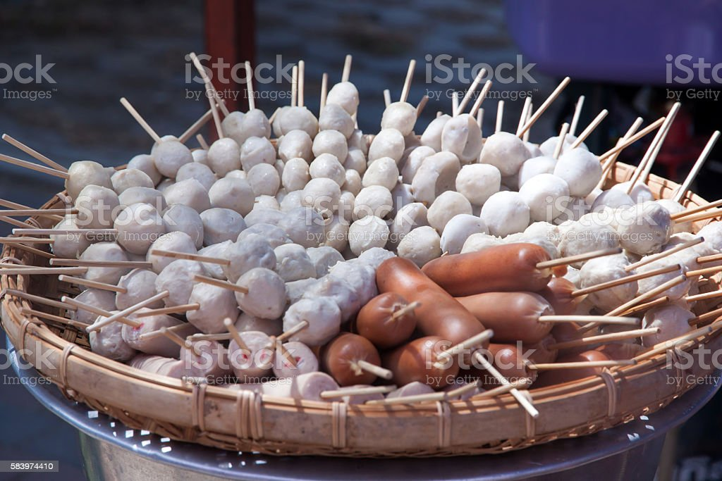 meat ball and sausage steamed stock photo