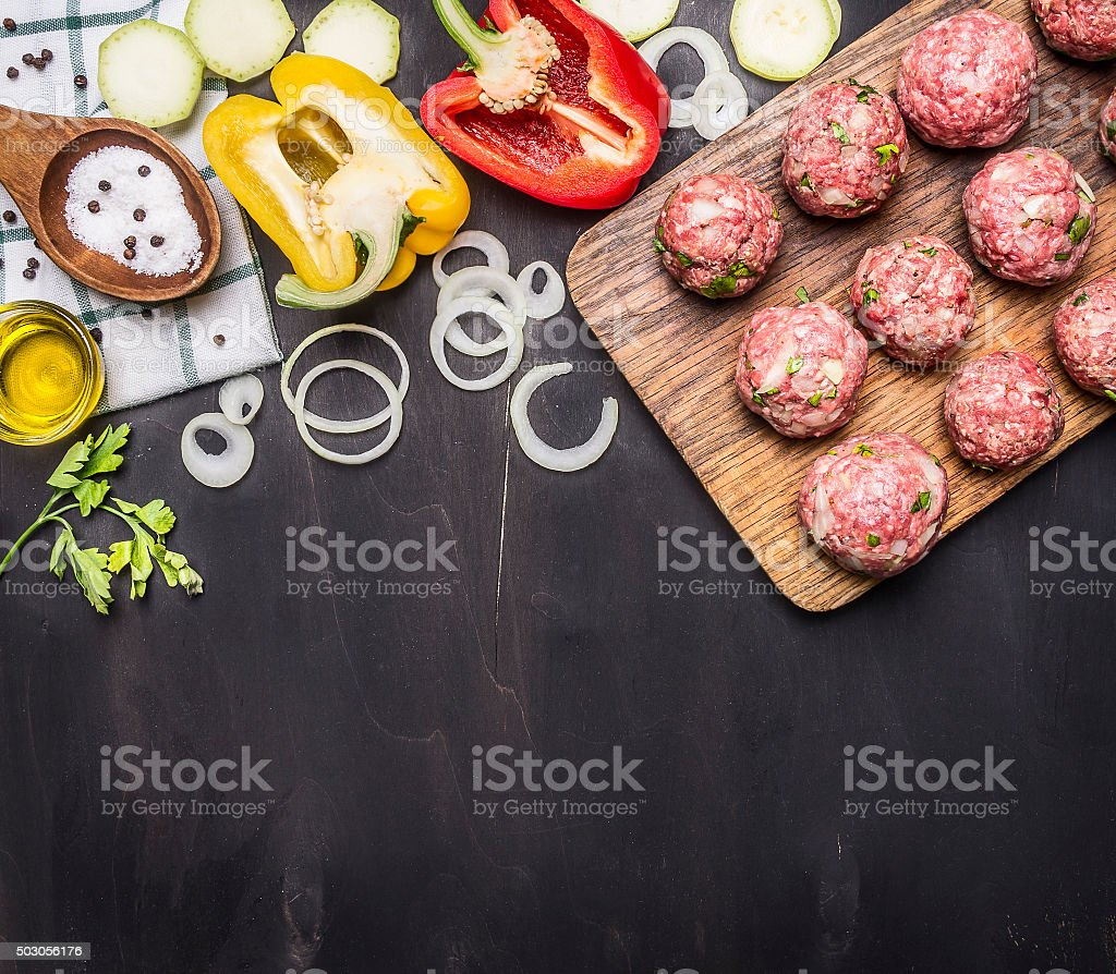 meat balls with herbs and onions  ,place text stock photo