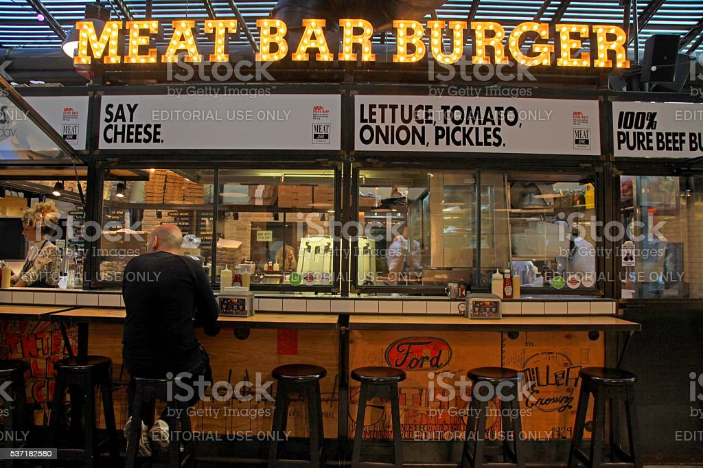 Meat Bar Burger in Sarona food market, Tel Aviv stock photo