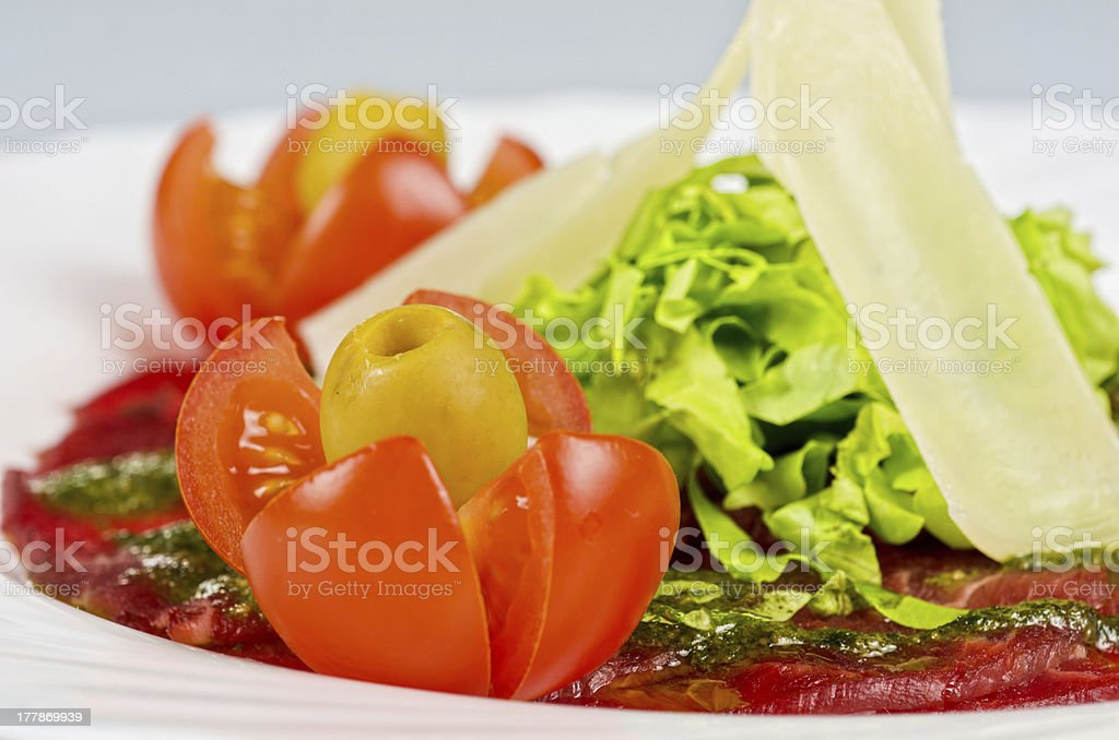 Meat carpaccio royalty-free stock photo